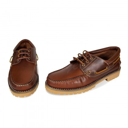 MEN LEATHER BOAT SHOES SEV200CA LEATHER, BY CASUAL PAIR
