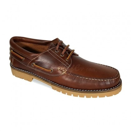 MEN LEATHER BOAT SHOES SEV200CA LEATHER, BY CASUAL