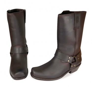 Men Biker Boots by Johnny Bulls 4829 BROWN SOLE