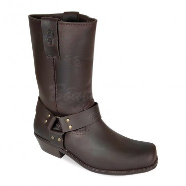 Men Biker Boots by Johnny Bulls - SEV4829 BROWN
