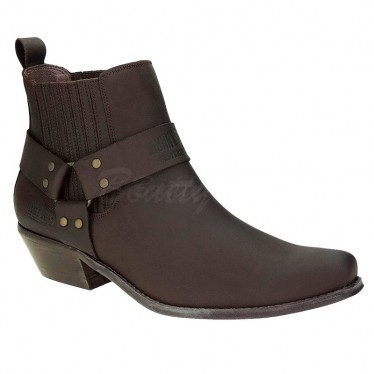 Men Biker Ankle Boots by Johnny Bulls - SEV4709 BROWN
