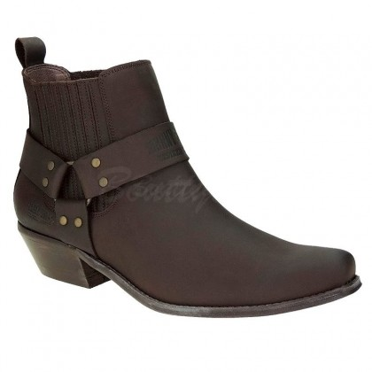 Men Biker Ankle Boots by Johnny Bulls 4709 BROWN