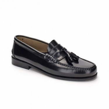 Man Leather Beefroll Loafers Tassels 302 Black, by Marttely Classic