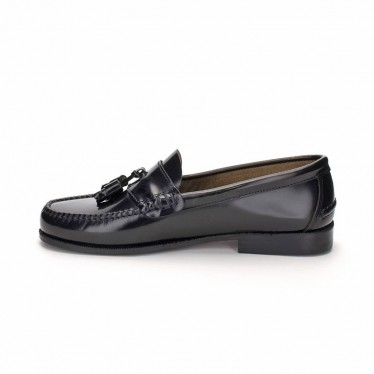 Man Beef Roll Leather Loafers Tassels 302 black, by Marttely Classic
