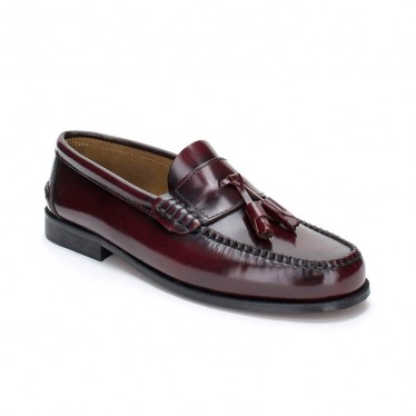 Man Leather Beefroll Loafers Tassels 302 Bordeaux, by Marttely Classic