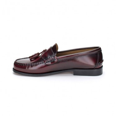 Man Beef Roll Leather Loafers Tassels 302 Bordeaux, by Marttely Classic