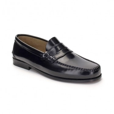 Man Leather Beefroll Penny Loafers 300 Black, by Marttely Classic
