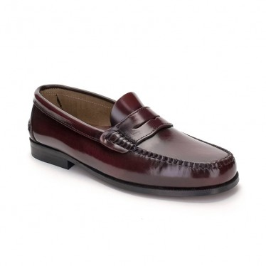 Man Leather Beefroll Penny Loafers 300 Bordeaux, by Marttely Classic