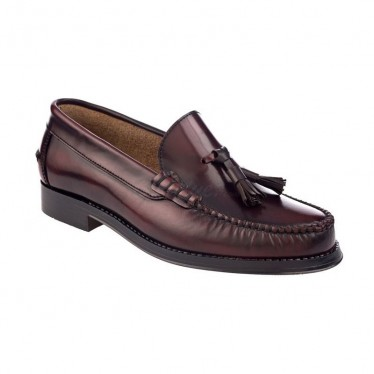 Man Leather Beefroll Loafers Tassels 400 Bordeaux, by Marttely Classic