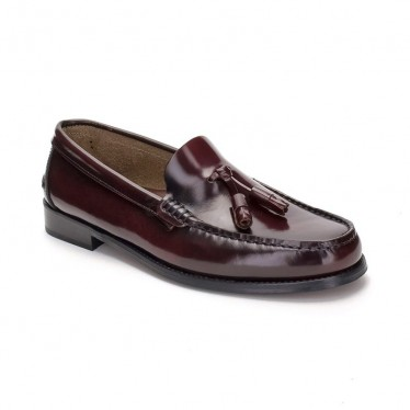 Man Leather Beefroll Loafers Tassels Staff 405BOR Bordeaux, by Marttely Classic