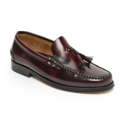 Man Beef Roll Leather Loafers Tassels 805MA Bordeaux, by Marttely Classic