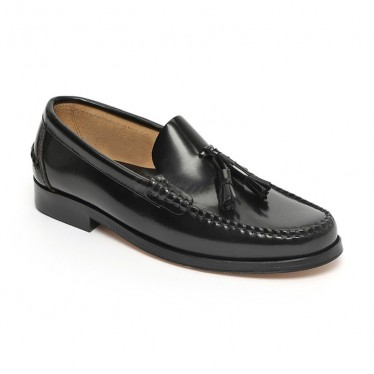 Man Beefroll Leather Loafers Tassels 805MA Black, by Marttely Classic