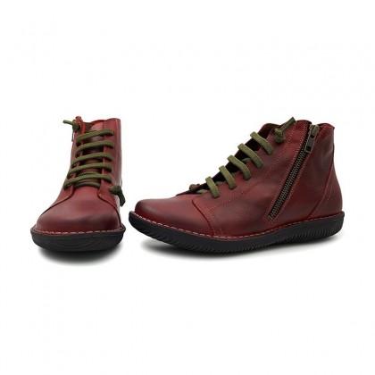 Woman Leather Booties 3012 Bordeaux, By Boleta Shoes