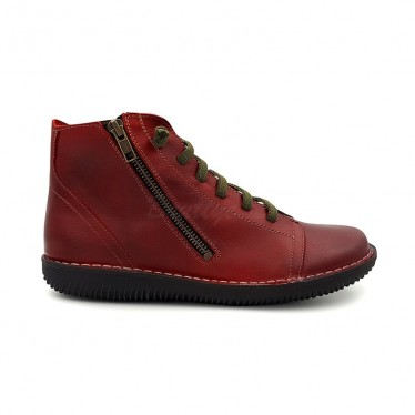 Woman Leather Flat Booties Ellastic Lace 3012 Bordeaux, By Boleta Shoes