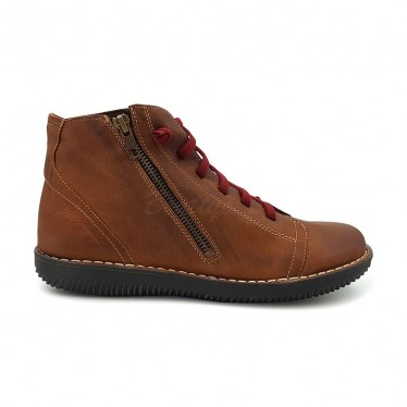 Botines Planos Mujer Piel Cordón Elastico 3012 Cuero, de Boleta Shoes