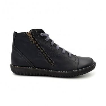 Botines Planos Mujer Piel Cordón Elastico 3012 Negro, de Boleta Shoes