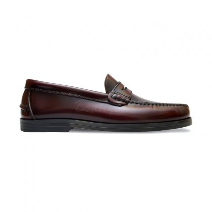 Woman/Child Beef Roll Leather Loafers Mask 301MD Bordeaux, by Marttely Classic