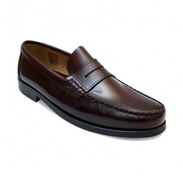Man Leather Beefroll Penny Loafers Mask 800 Bordeaux, by Marttely Classic