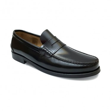 Man Leather Beefroll Penny Loafers 800 Black, by Marttely Classic