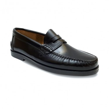 Woman/Child Leather Beefroll Penny Loafers 301MD Black, by Marttely Classic