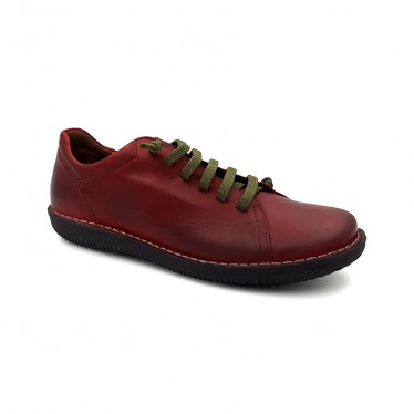 Woman Leather Sneakers Ellastic Laces 200 Bourdeaux, By Boleta Shoes