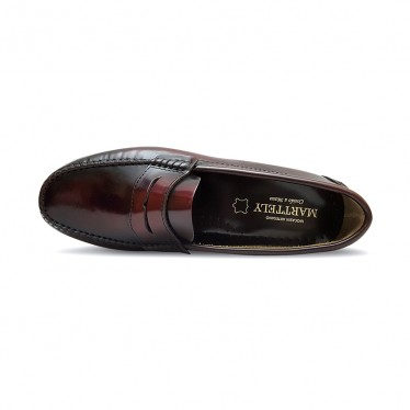 Man Leather Beefroll Penny Loafers Rubber Sole 350AL Bordeaux, by Marttely Classic