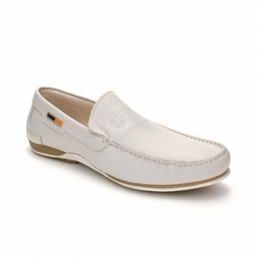 Man Leather Boat Loafers 416 White, By Comodo Sport