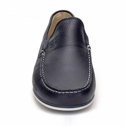 Man Leather Boat Loafers 416 Navy, By Comodo Sport