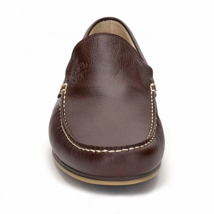 Man Leather Boat Loafers 416 Brown, By Comodo Sport