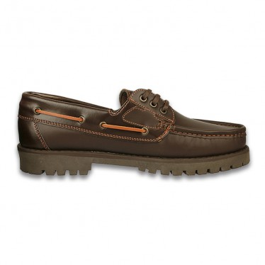 Man Leather Boat Shoes 1751B Brown, By Comodo Sport