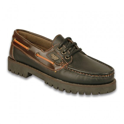 Man Leather Boat Shoes 1751B Black, By Comodo Sport
