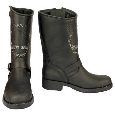 Men Biker Boots by Johnny Bulls 17828 BLACK SOLE