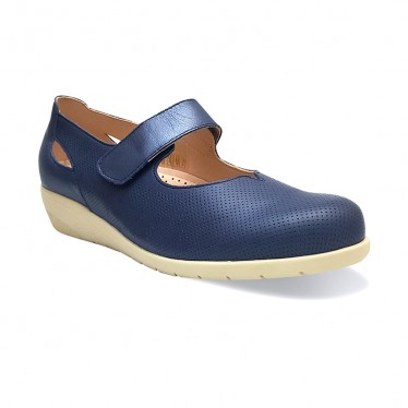 Woman Leather Wedged Mary Janes Removable Insole 71TP Navy, by TuPie