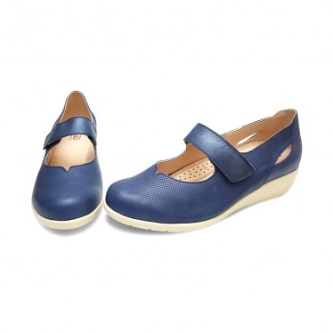 Woman Leather Wedged Mary Janes 71TP Navy, by TuPie
