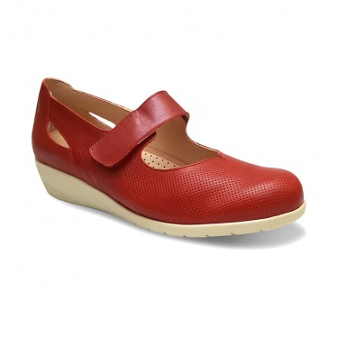 Woman Leather Wedged Mary Janes Removable Insole 71TP Red, by TuPie