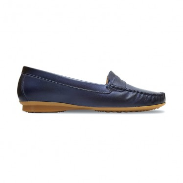 Women Soft Leather Loafers 903CA Navy, by Casual