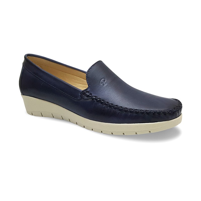 be20d0806e2 Women Soft Leather Wedged Loafers 903CA Navy