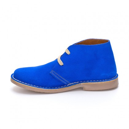 Woman Suede Safari Booties 360-S Blue, By C. Ortuño
