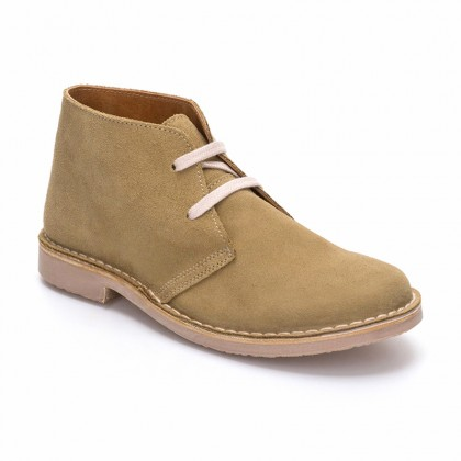 Woman Suede Safari Booties 360-S Beige, By C. Ortuño