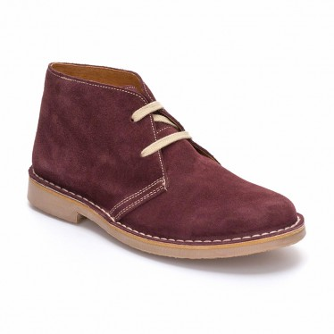 Woman Suede Safari Booties 360-S Bordeaux, By C. Ortuño