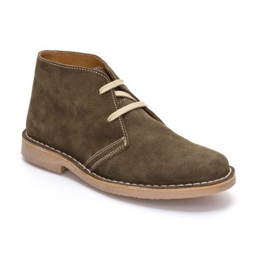 Woman Suede Safari Booties 360-S Kaki, By C. Ortuño