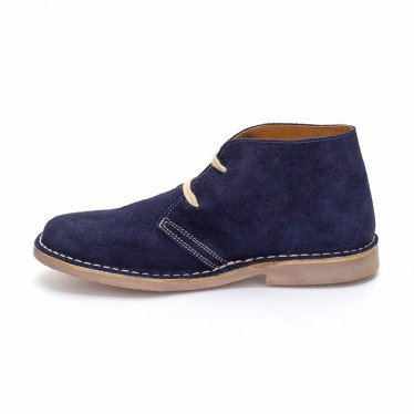 Woman Suede Safari Booties 360-S Navy, By C. Ortuño
