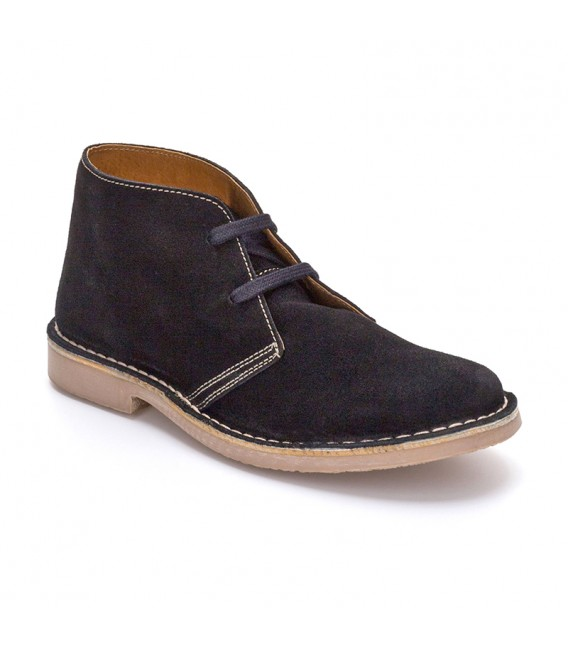 Woman Suede Safari Booties 360-S Black, By C. Ortuño