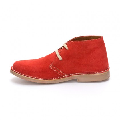 Woman Suede Safari Booties 360-S Red, By C. Ortuño