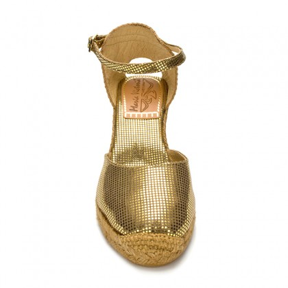 Woman Wedged Espadrilles Esparto Grass, 10043 Gold, by Maria Victoria