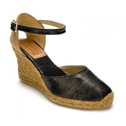 Woman Wedged Espadrilles Esparto Grass, 10043 Black, by Maria Victoria