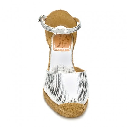 Woman Wedged Espadrilles Esparto Grass, 10043 Silver, by Maria Victoria