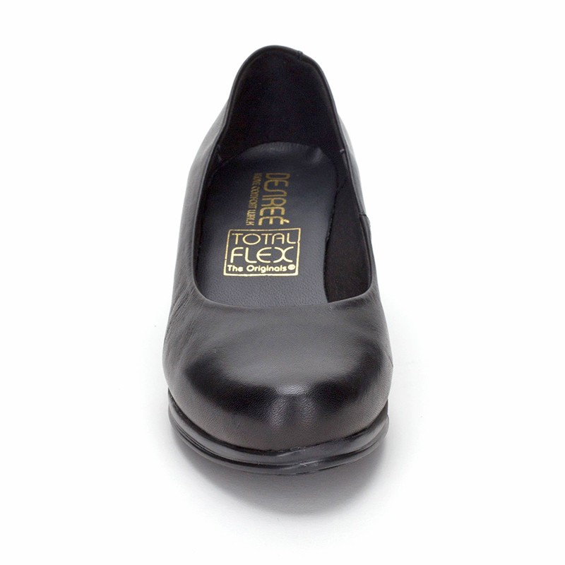 Woman Leather Comfort Pumps Low Heel 1050DE Black, by Desireé