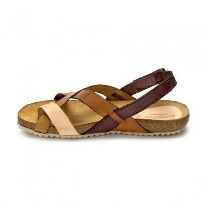 Woman Leather Bio Sandals Velcro Cork Sole 830MX Leather, by Morxiva Shoes