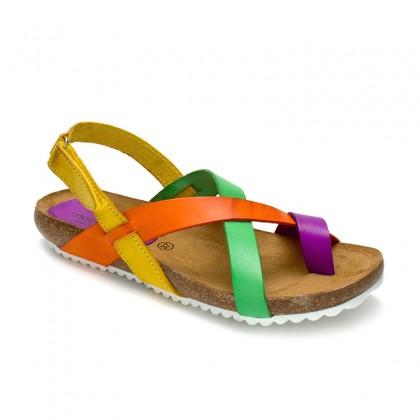 Woman Leather Bio Sandals Velcro Cork Sole 830MX Multi, by Morxiva Shoes